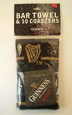 Guinness Bar Towel and Coaster Set Official Merchandise (Arthur Guinness / Harp)