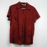 Croft & Barrow Women's Short Sleeve Stretch Blouse Top Red Size XL Button Down