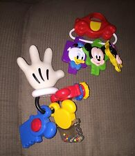 Lot Of 2 Mickey & Friends Disney Baby Key Rings Stroller Toys Toddler Baby Play