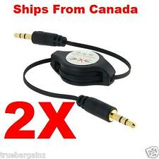 2X- BLACK Retractable 3.5mm Male to Male Jack Audio Aux Cable Car stereo Adapter