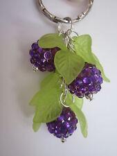 Silver tone Bag Charm / Keyring - Blackberry Bush - Purple Rhinestone