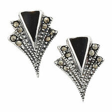 Marcasite Stud Butterfly Round Fine Earrings