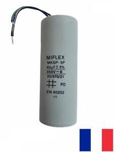 condensateur permanent / démarrage moteur MIFLEX 40uF 40µF 450v à fils
