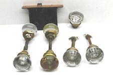 Vintage Antique Door Hardware Lot 7 Glass Knobs+Shafts Closet / Interior + Lock