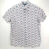 Perry Ellis Mens Button Front Shirt White Blue Short Sleeve Big & Tall XLT