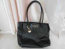 DKNY 100% Genuine Leather Black Tote Shopper Bag with Inner Zip Pocket (Used)