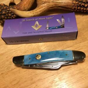 "Frost Blue Smooth Bone Masonic Wrangler 3 7/8"" Stockman Pocket Knife  F14797MAS2"