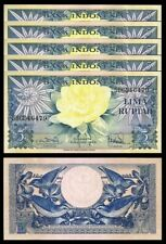 Indonesia 5 Rupiah 1959, Unc-, 5 Pcs Lot, P-65