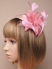 LILY fiore rosa scuro con Glitter piuma Pois Pettine Copricapo Fascinator Con