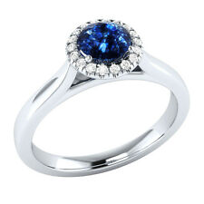 Demira Jewels Engagement Blue Sapphire Silver Diamond Ring