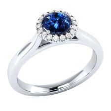 Demira Jewels Engagement Blue Sapphire Silver Diamond Ring