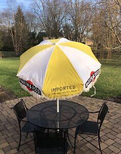 "Martini & Rossi Cafe Bar Market Vintage Umbrella 72"" Wide - Yellow/White Porsche"