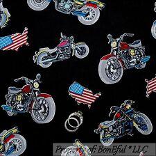BonEful Fabric FQ Cotton Quilt Black Red VTG American Flag Motor*Cycle Bike Star