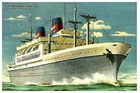 S. W. Galli/Artist-Signed 1930s Ship Postcard: SS President Cleveland - Steamer