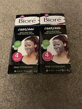 2 X Bioré Self-Heating One Minute Charcoal Masks 4 Sachets 7.0g.