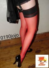 Seamed Stockings Bi-Colour Red and Black NEW FAST delivery