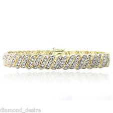 18K Yellow Gold Finish Natural Fancy Tennis Bracelet Lab Diamond in Brass