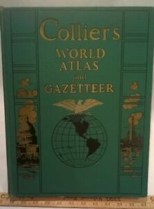 Collier's World Atlas and Gazetteer (1943 Hardcover, Signature)