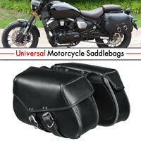 Pair Motorcycle Saddlebags Luggage Tool Pouch Black For Bobber Chopper Cruiser
