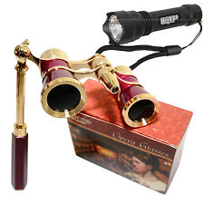 HQRP Opera Theater Binocular 3X25 Optics Glasses with Handle + Mini Flashligh