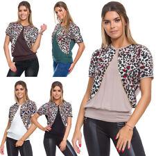 Women Elegant Loose Top Short Sleeve Crew Neck Ladies Blouse T-Shirt Bolero WA24