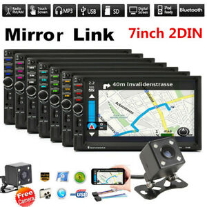 2DIN 7in Touch Screen Car Stereo Radio Mirror Link BT FM USB MP5 Player+Camera