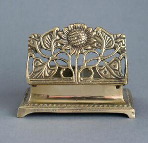 Vintage SOLID BRASS Art Nouveau Design STAMP HOLDER Desk Tidy SUNFLOWER