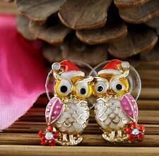 Beautiful Betsey Johnson Lovely Christmas hooded owl earrings N413 BJ