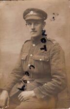 WW1 Pte ASC Army Service Corps in France wears denim khaki cap