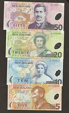 New Zealand 5/10/20/50 Dollar Uncirculated Set ( Prefix A Matching Signature )