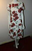 Havren Camilla White Red Roses Midi Party Designer Floral Shift Dress 8 10 12 14