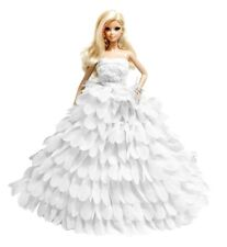 Barbie White Wedding Dress Gown Sweetheart Handmade Layered Ruffle for barbie