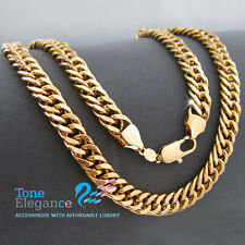 18k gold GF curb rings Link Figaro mens womens solid necklace chain jewellery