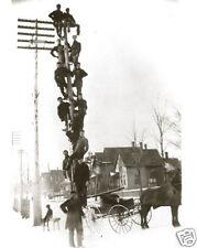 Vintage Michigan Bell Telephone Line Crew Twelve Guys On One Pole 1890 AMAZING