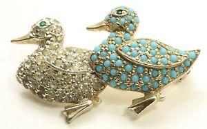 Vintage Jomaz Joseph Mazer Pave Glass Turquoise Rhinestone Ducks Brooch Pin