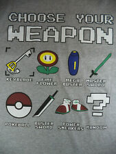 "Choose Your Weapon T-Shirt (L 42"") Video Game Mash-up Super Mario Pokemon Zelda"