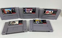 SNES Sports Game Lot 5 Games Baseball Football Hockey Baskeball Soccer
