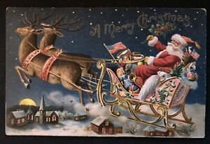 Patriotic~Santa Claus in Sled~ with Flag~Toys~1907~ Christmas Postcard-h793