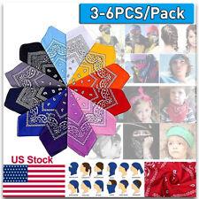 6PCS Bandana Paisley Handkerchief Headband Scraf Head Wrap Face Cover 100%Cotton