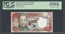 Colombia 500 Pesos Oro 20-7-1984 P423bs Specimen TDLR  Uncirculated