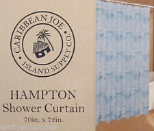 Caribbean Joe Hampton Fabric Shower Curtain Blue Sailboats Fish Tropical Island