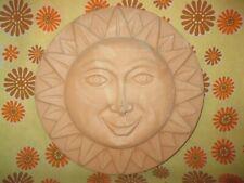 Vintage Ancien SOLEIL DECORATIF MURAL en TERRE CUITE diamètre 29cm MADE IN ITALY