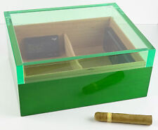 Humidor Angelo Acrylglas grün ca 75 Zigarren mit Hygrometer Polymere-Befeuchter