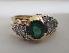 14K Gold Diamond & Emerald Ring Dia=1/3 Carat F-VS2 TCW=1.33  (10 MM) 5.40 Grams