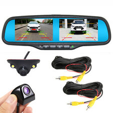 "4.3"" Split Screen Mirror Monitor+2 Back Cameras Car Front Rear View Reverse Kit"