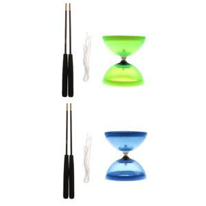 2x Chinese Yoyo 1-Bearing Diabolo w Handsticks & String Plastic Juggling Toy