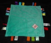 TAGGIES BRIGHT STARTS TEAL SQUARES SECURITY BLANKET STUFFED ANIMAL PLUSH TOY