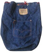Levis Orange Tab Denim Jean Red Drawstring Bag Dark Blue Vintage Rare