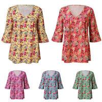 Women Short Sleeve Floral V-Neck T-Shirts Top Loose Tunic Blouse Shirt Plus Size
