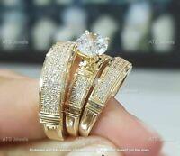 14k Yellow Gold Fn Diamond Trio His Her Bridal Set Engagement Ring Wedding Band